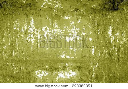 Grungy Rusted Metal Wall Texture In Yellow Tone. Abstract Background And Texture For Design.