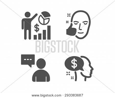 Set Of Seo Statistics, Healthy Face And Users Chat Icons. Pay Sign. Analytics Chart, Healthy Cosmeti
