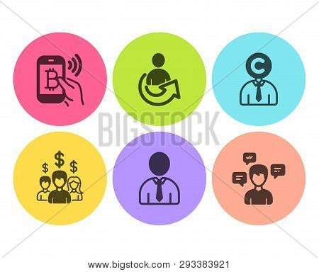 Human, Share And Copyrighter Icons Simple Set. Salary Employees, Bitcoin Pay And Conversation Messag