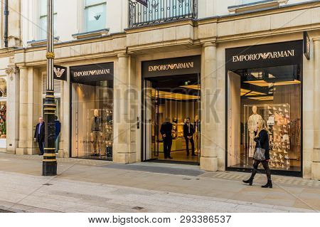 April 2019. London. A View Of The Emporio Armani Store On Bond Street In London