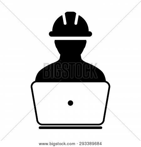 Supervisor Icon Vector Male Construction Worker Person Profile Avatar With Laptop And Hardhat Helmet