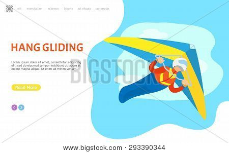 Hang Gliding Person Vector, Male Piloting In Air, Extreme Sports Activities. Man Diving In Sky, Leis