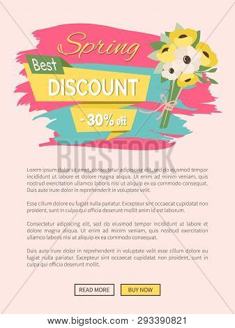 Spring Discount, Promotion And Special Offer Online. Webpage Decorated By Bouquet Of Yellow Daisies,