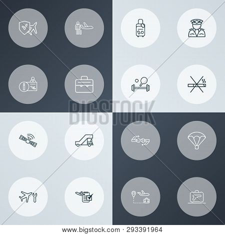 Travel Icons Line Style Set With Aircraft Maintenance, Pilot, Travel Tour And Other Skydive Elements