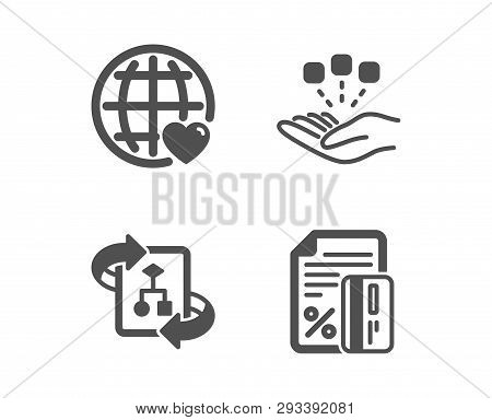 Set Of Consolidation, Technical Algorithm And International Love Icons. Credit Card Sign. Strategy,