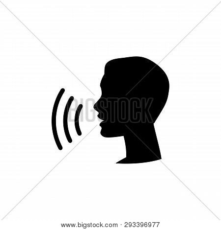 Voice Control Icon. Speak Or Talk Recognition Linear Icon, Speaking And Talking Command, Sound Comma
