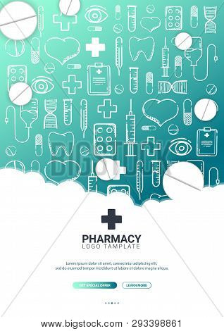 Pharmacy And Medical Banner With Doodle Background. Pills, Vitamin Tablets, Medical Drug. Vector Ill