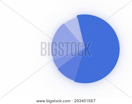illustration of a blue pie chart. 3D