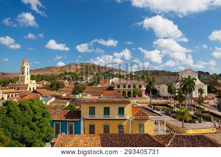 View From Roof On The Street In Trinidad, Cuba. Colonial Buildings In Trinindad, Cuba. Grand Baroque