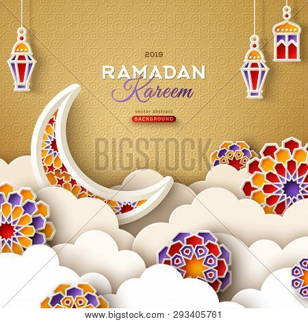 Ramadan Kareem Banner With Moon, Clouds And 3d Paper Cut Islamic Stars On Gold Background. Vector Il