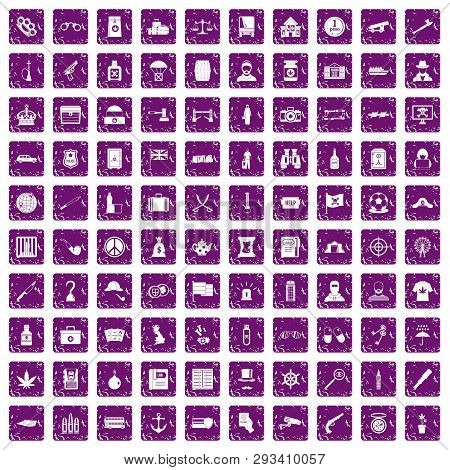 100 Offence Icons Set In Grunge Style Purple Color Isolated On White Background Illustration