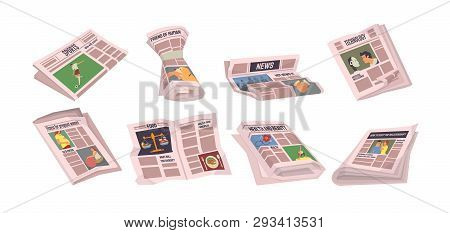 Newspapers With Sports Events Vector, Set Of Paper With Information. Tabloids With Food And Technolo