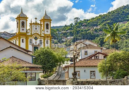 Top View Of The Center Of The Historic Ouro Preto City In Minas Gerais, Brazil With Its Famous Churc