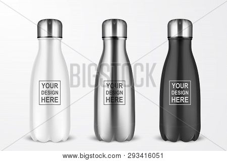 Vector Realistic 3d White, Silver And Black Empty Glossy Metal Reusable Water Bottle With Silver Bun