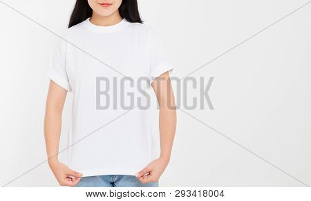 Young Asian Japanese Woman In Blank White T-shirt. T Shirt Design And People Concept. Shirts Front V