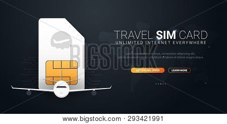 Travel Sim Card. Technology Concept. Vector Illustration.