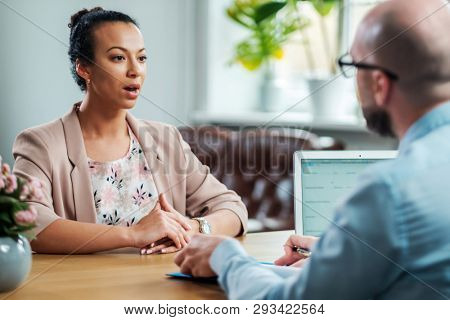 Black girl attending job interview