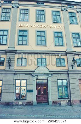 Sweden, Stockholm - January 05, 2015: Old Town, Mynttorget 4, 111 28 Stockholm, Brandkontoret, Stock
