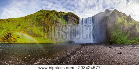 Panoramic view of the Skogafoss, one of the biggest Icelandic waterfalls on the Skoga river, a popular tourist attraction in Southern Iceland, Scandinavia poster