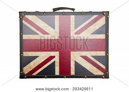 Suitcase With British Flag Pattern Isolated On White Background