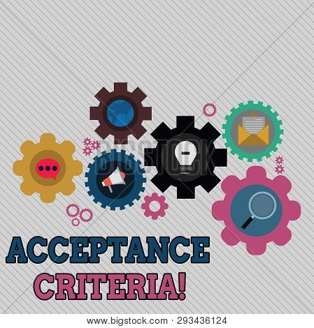 Conceptual hand writing showing Acceptance Criteria. Business photo text conditions that product satisfy to accepted by user Set of Global Online Social Networking Icons Cog Wheel Gear. poster