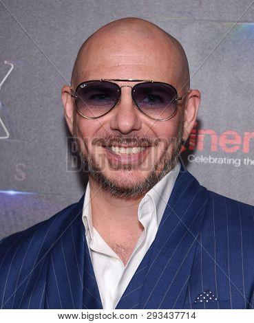 LAS VEGAS - APR 02:  Pitbull aka Armando Christian Perez arrives for CinemaCon 2019 - STXfilms presentation