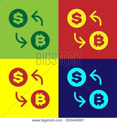 Color Cryptocurrency Exchange Icon Isolated On Color Backgrounds. Bitcoin To Dollar Exchange Icon. C