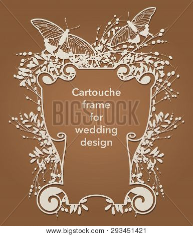 Flower Frame Cartouche For Laser Cutting. Vintage Leaf Border, Antique Style Whirlwind, Decorative E