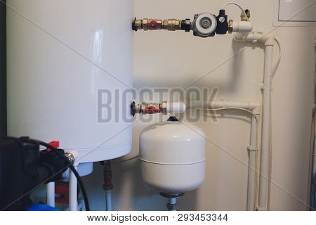 Hot Water Boiler. Boiler Room With A Heating System.