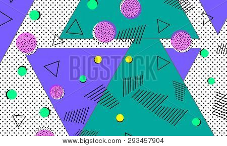 90s Pattern. Memphis Trend. Nineties Pattern. Pop Art Color Background. Vector Illustration. Hipster