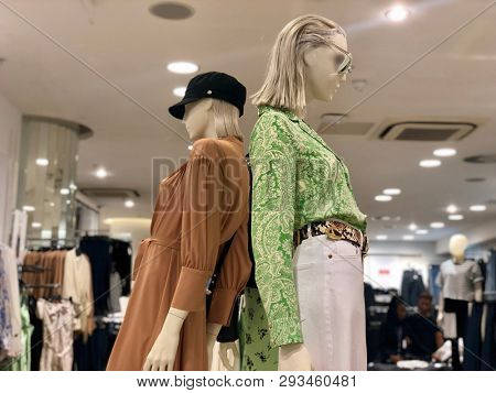 BRENT CROSS, LONDON - APRIL 3, 2019: Mannequins model fashion garments inside Topshop retail store at Brent Cross Shopping Centre in North London, UK.