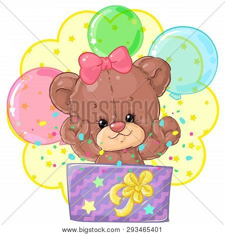Teddy Bear Gift In A Gift Box With Balloons For Birthday