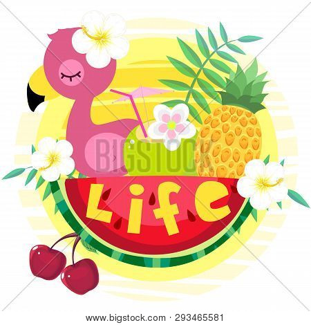 Hawaiian Style Banner For Summer Holidays And Seaside Vacations With Pink Flamingos, Coconut Cocktai