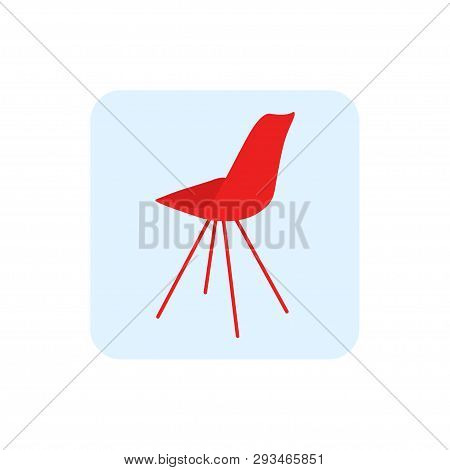 The Chair. Logo Of Chair. Icon Of Chair. The Chair Is Red In Color. Furniture. White Background. Vec