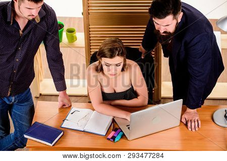 Business Conference. Business Professionals Holding Video Conference On Laptop. People Working And C
