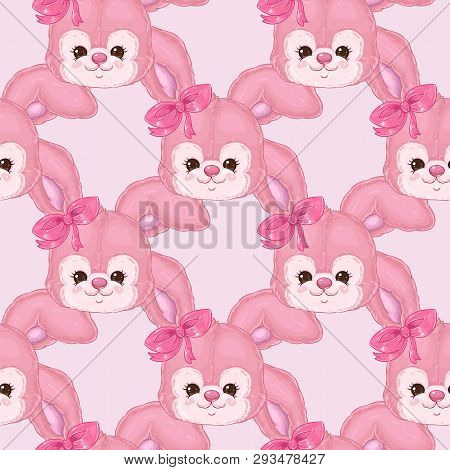 Pattern With Cute Bunny Girl On Pink Background