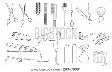 Hairdressing Equipment And Accessories.  Design Elements Of Beauty Salons And Hair Salons.  Isolated