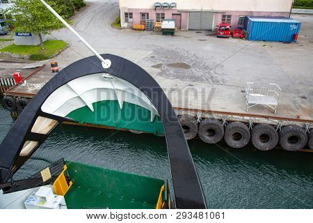 Near Geiranger, Norway - June, 2016: Ferryboat Departure And Close Deck. Ferry Bow Closeup. Arrival