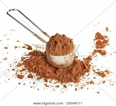 cocoa powder in a scoop  isolated on white background