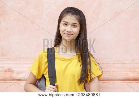 Portrait Student Girl Wearing Backpack
