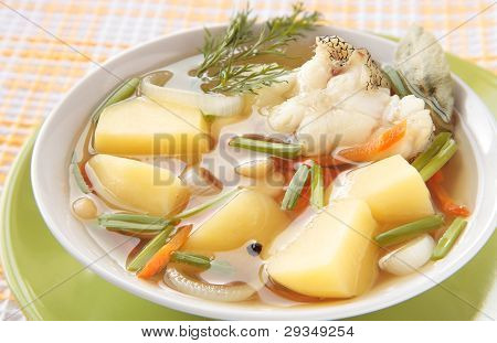 Chowder Of The Grenadier With Potatoes, Carrots And Onions
