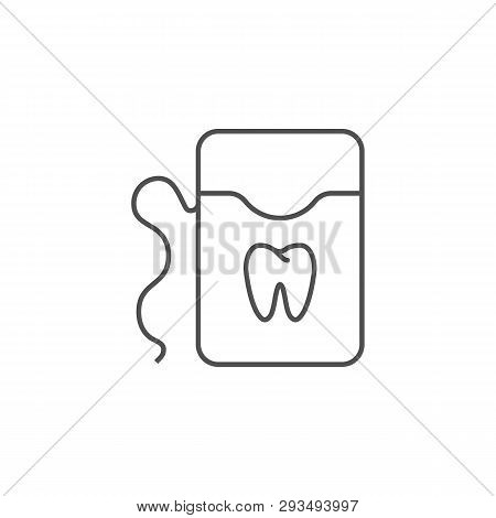 Dental Floss Line Icon. Dental Floss Line Related Vector Line Icon. Isolated On White Background. Ed