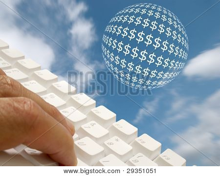 Online banking concept showing keyboard with dollar ball