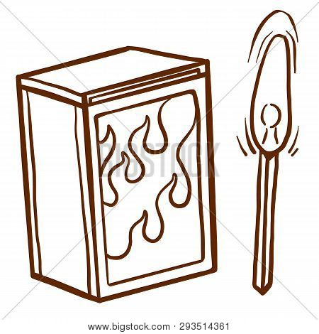 Safety Match Ignite Burn Icons Set. Cartoon Illustration Of Doodle Safety Match Vector Icon For Web