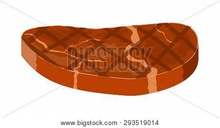 Beef Tenderloin. Pork Knuckle. Slice Of Steak, Fresh Meat. Cooked Pork Chop. Vector Illustration In