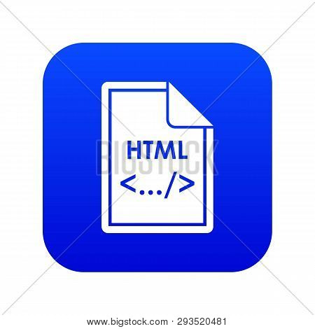 File Html Icon Digital Blue For Any Design Isolated On White Vector Illustration