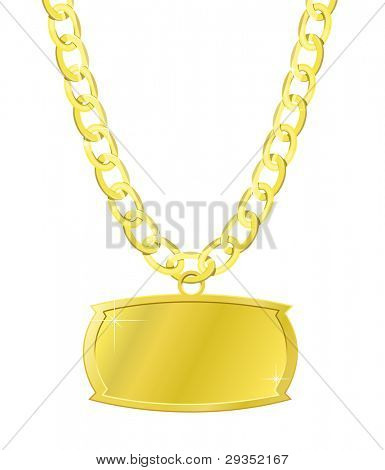 gold set of chain and the plaque isolated on white version