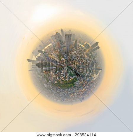 360 Panorama High View Of City  In Sunset Time / Circle Panorama Of The City
