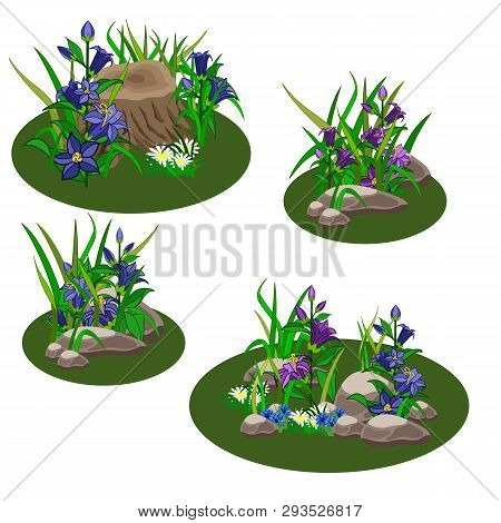 Set Of Summer Landscape Elements To Create Garden Or Forest Scene For Game Asset Or Cartoon. Bell-fl