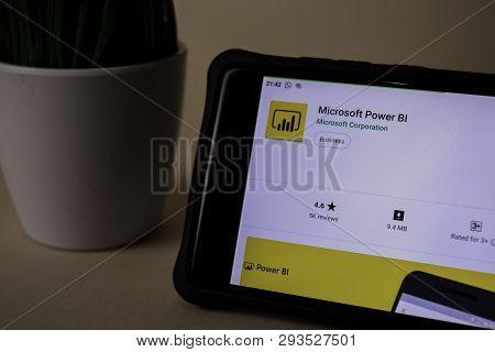 Bekasi, West Java, Indonesia. April 5, 2019 : Microsoft Power Bi Dev Application On Smartphone Scree